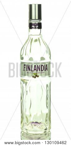 CIRCA MARCH 2016 - GDANSK: Finlandia blackcurrant natural flavoured vodka isolated on white background. Finlandia vodka has been produced from barley and pure glacier water since 1970.