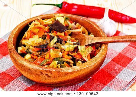 Chinese Vegetable Stew. Paprika, Peas, Carrots. Diet Food. Studio Photo
