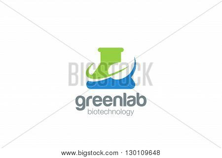 Organic Green Bio Lab Logo flask vector Negative space icon.