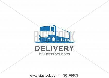 Delivery Truck silhouette Logo vector Negative space style icon.