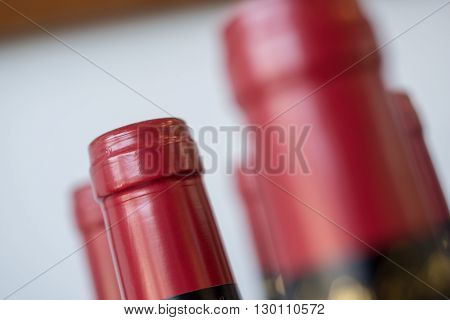 Corked bottles of wine sealed and unlabeled