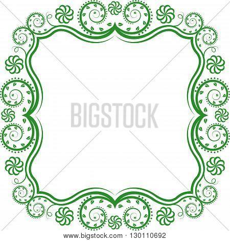 silhouette of  floral frame - clip art illustration