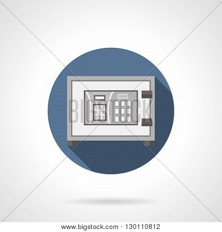 Metal digital safe with long shadow. Electronic lock with personal password, protective technologies for banks. Security service and insurance. Round flat color style vector icon.