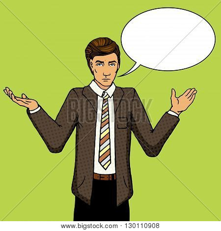 Businessman undecided with hands raised on two side. Cartoon pop art vector illustration. Human comic book vintage retro style.
