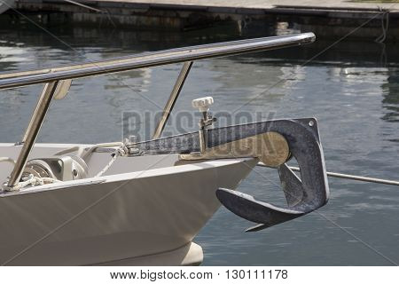 CAGLIARI: Detail of the prow of a boat in the marina of Marina Piccola - Sardinia