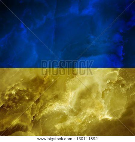 Ukrainian flag. Amazing stone texture with multicolor stripes.