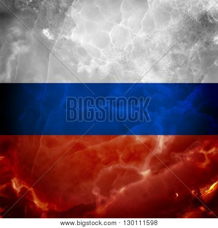 Russian flag. Amazing stone texture with multicolor stripes.