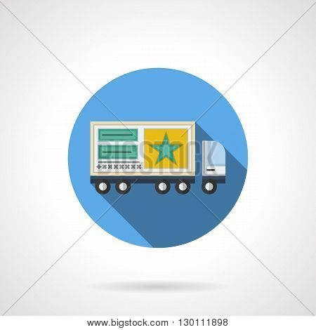 Yellow poster with star on lorry truck. Freight transportation. Placement of advertisements on vehicles. Movable elements of marketing and promotion. Round flat color style vector icon.