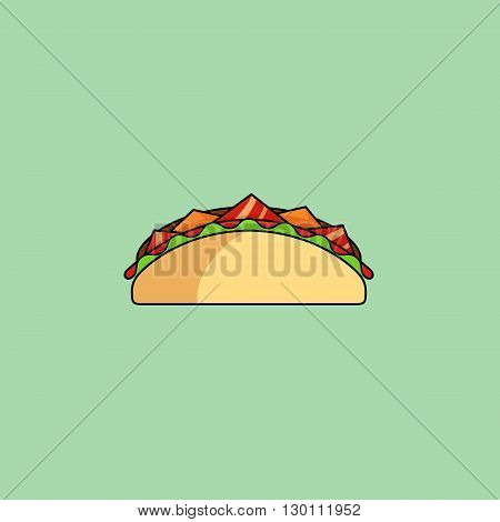Cute cartoon tacos, shaurma Burrito with salad, tomatoes, cutlet, cheese.Minimalist line style, modern color, flat design. Mexican food thin line icon for web, mobile. Vector illustration, eps10