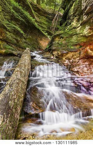 The stream in Rocky Hollow cascades over colorful sandstone and through a rocky passage at Indiana's Turkey Run State Park.