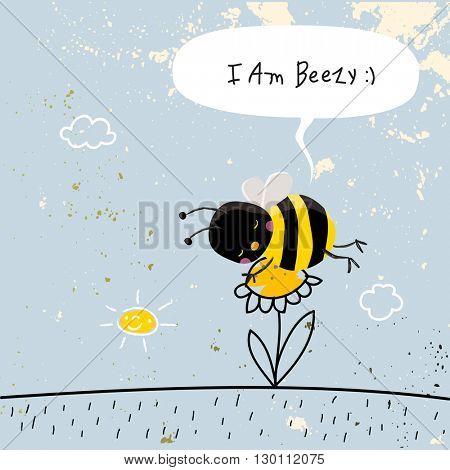 Cute bee sleeping on a flower, with speech balloon. Doodle style vector illustration.