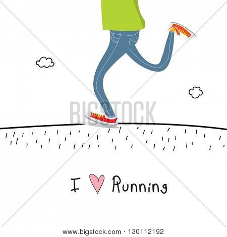 I love running concept vector illustration, healthy lifestyle.