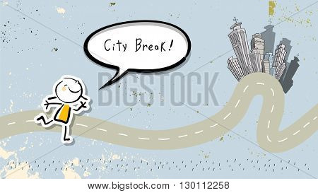 Kids city break, summer travel tourism. Smiling kid with speech bubble. Doodle style Vector illustration.