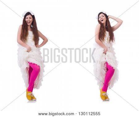 Funny bride isolated on the white
