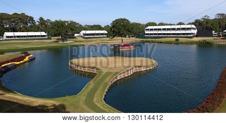 PONTE VEDRA BEACH, FL-MAY 16: General view of the signature 17th green at TPC Sawgrass after The PLAYERS Championship on May 16, 2016.