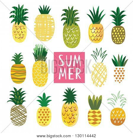 Cute Ananas Collection, vector illustrations