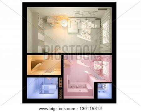3D Visualization Of Interior Design A Studio Apartment.