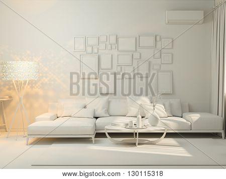 3D Visualization Of Interior Design Living In A Studio Apartment.