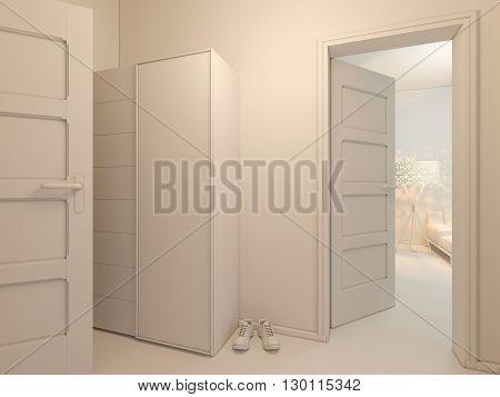 3D Visualization Of Interior Design Entrance Hall.