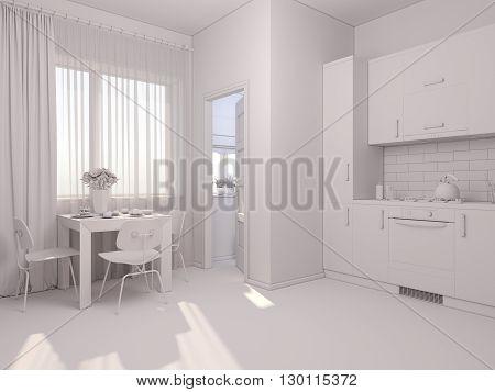3D Visualization Of Interior Design Kitchen In A Studio Apartmen.