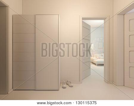 3D Visualization Of Interior Design Entrance Hall In A Studio Apartment