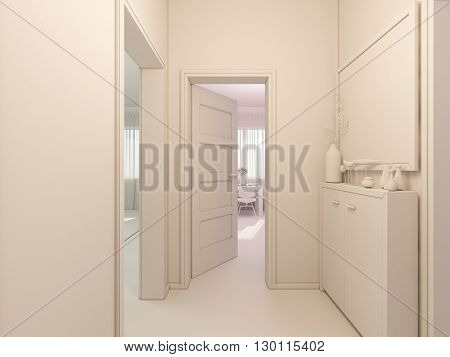 3D render of interior design entrance hall in a studio apartment in a modern minimalist style. The illustration shows the open doors in the living room kitchen hallway and large closet