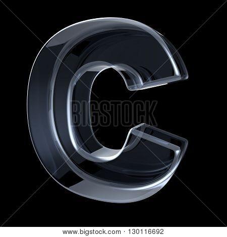 Transparent x-ray letter C. 3D render illustration on black background