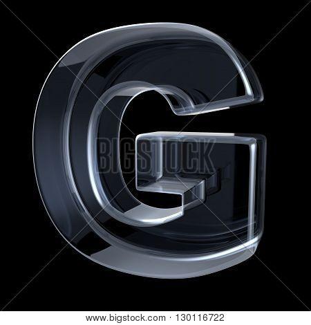 Transparent x-ray letter G. 3D render illustration on black background