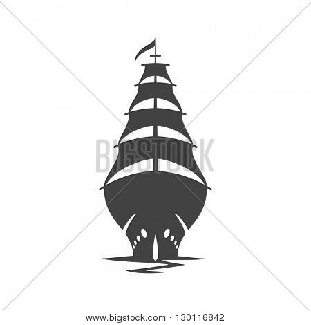 Sailing Ship Isolated on white background vector icon in retro style. Can be used for logo or badge.