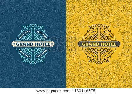 Vintage Logo with floral frame, Baroque style