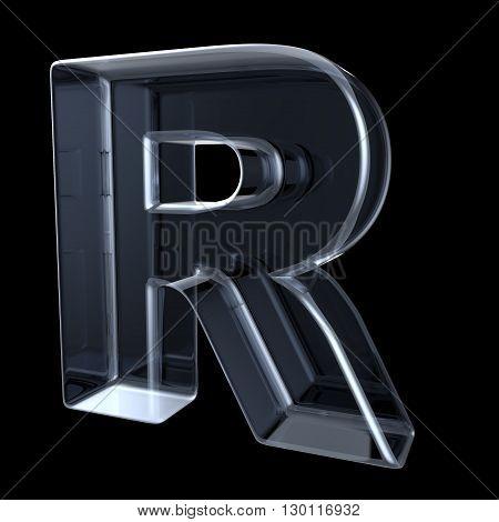 Transparent x-ray letter R. 3D render illustration on black background