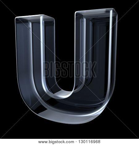 Transparent x-ray letter U. 3D render illustration on black background