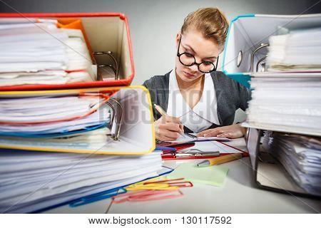 Busy Clerk During Work.