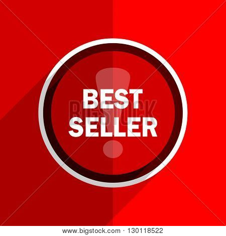 red flat design best seller web modern icon