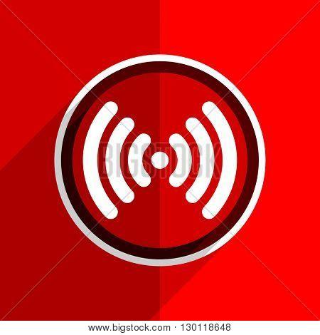 red flat design wifi web modern icon
