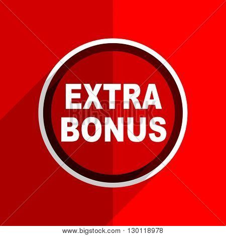 red flat design extra bonus web modern icon