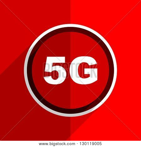 red flat design 5g web modern icon