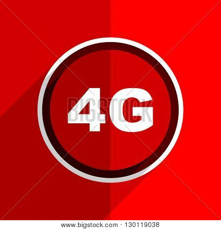 red flat design 4g web modern icon