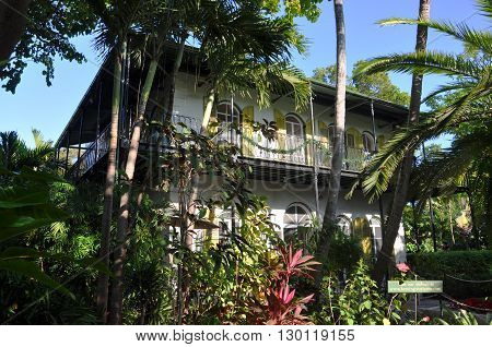 KEY WEST, FL, USA - DEC 20: Ernest Hemingway House and Museum on Dec 20, 2012 in Key West, Florida, USA.