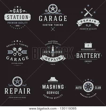 Car Service Logos Templates Set. Vector object and Icons for Garage Labels, Car Badges, Repairs Logos Design, Emblems Graphics.