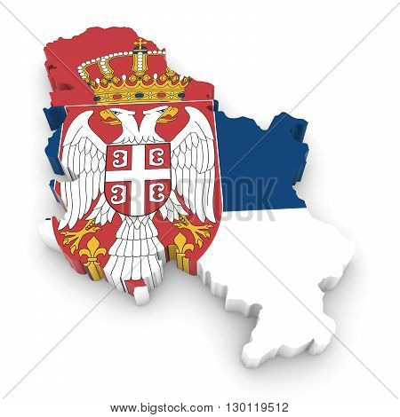3D Illustration Map Outline Of Serbia With The Serbian Flag