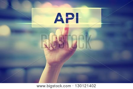 Api Concept With Hand Pressing A Button