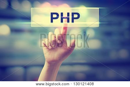 Php Concept With Hand Pressing A Button