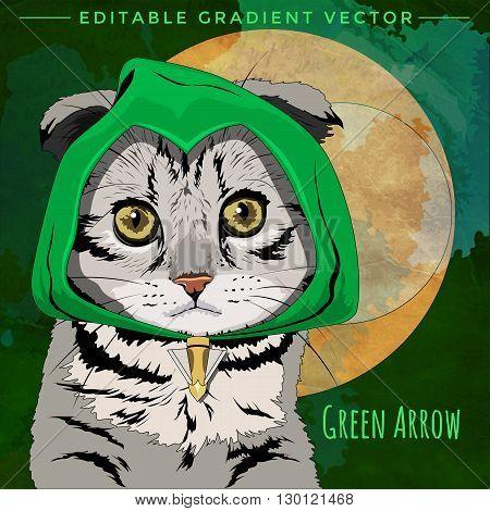 Green Arrow Cat. Vector illustration of a cat at home.