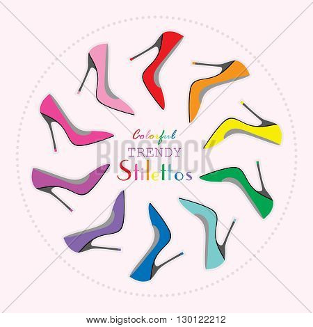 Circle arrangement of colorful sexy stilettos high heels set on light pink background