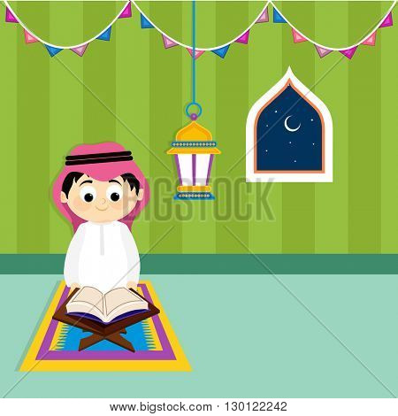 Cute Little Arabic Boy reading Holy Book