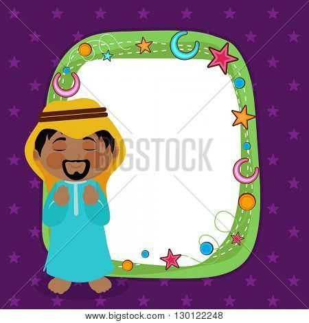 Beautiful Greeting Card with Young Islamic Man Praying and creative Elments decorated Frame for Islamic Festivals Celebration.