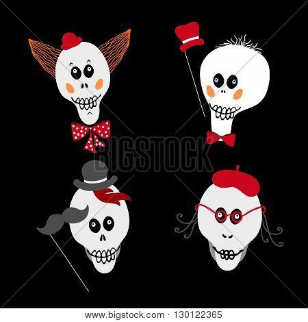 Set of skulls. Vector fun skulls.Skull as a symbol of Halloween. Skull as halloween design element. Hand drawn skulls on black background.