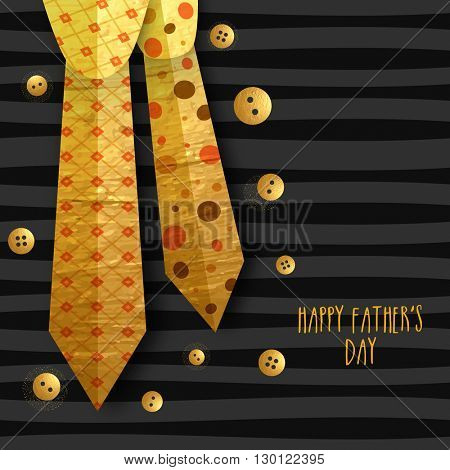 Stylish Golden Ties with Buttons for Happy Father's Day celebration.