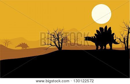 At sunset stegosaurus in fields scenery a beautiful